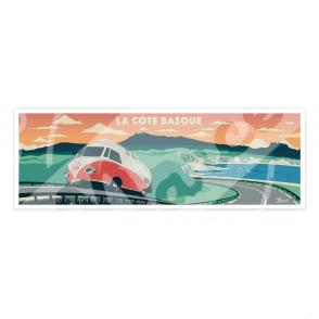 """Affiche Côte Basque """"Perle de l'Océan Atlantique"""""""