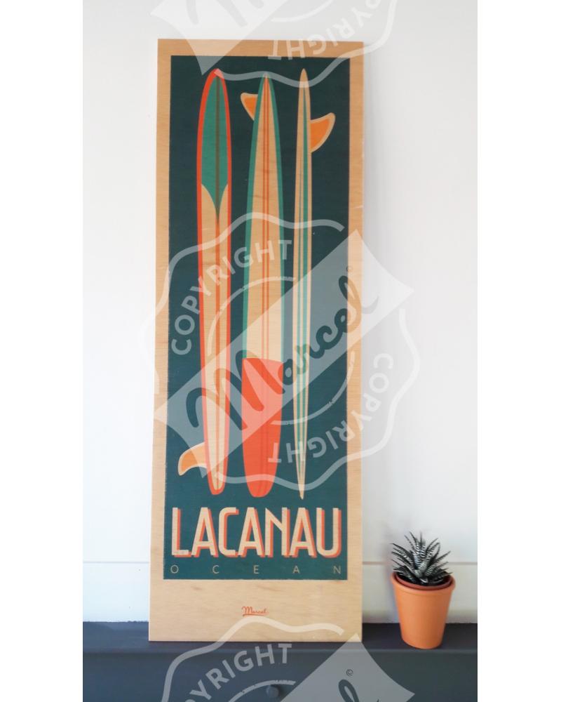 """Impression sur bois LACANAU """"Surfboards"""""""
