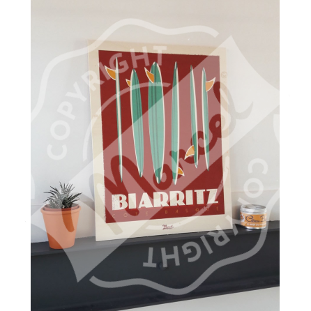 "Wood print BIARRITZ ""Surfboards"""