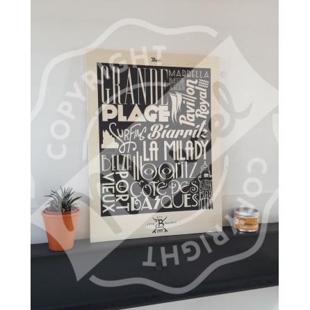"Wood print BIARRITZ ""Typography"""