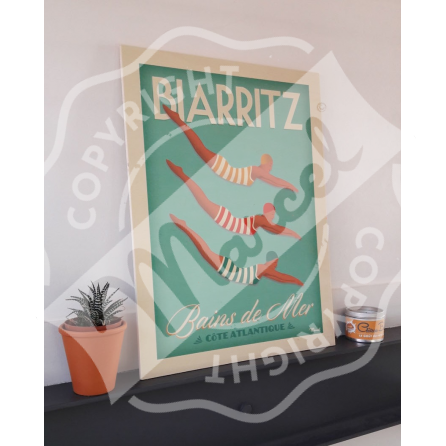 "Wood print BIARRITZ ""Bains de Mer"""
