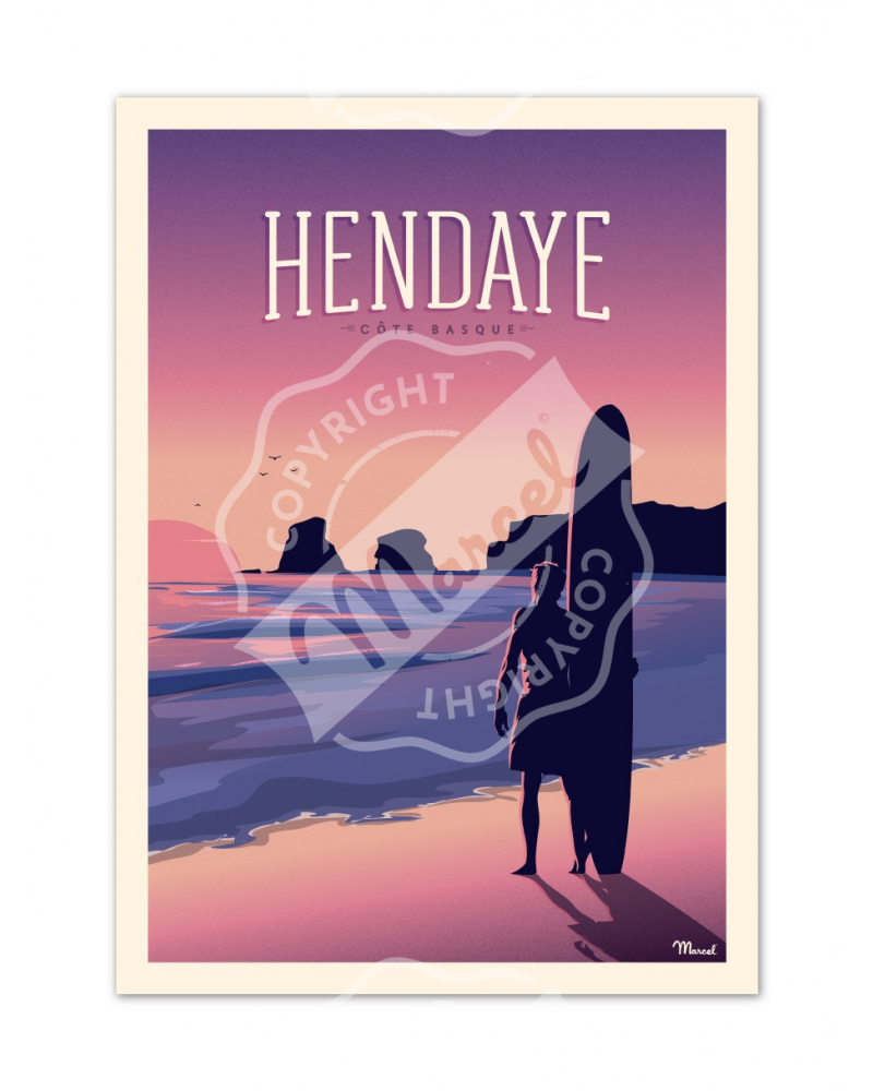 "Poster HENDAYE ""Les 2 Jumeaux"""