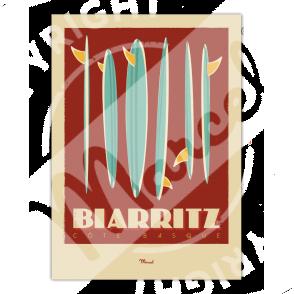 """Poster Biarritz """"Surfboards"""""""