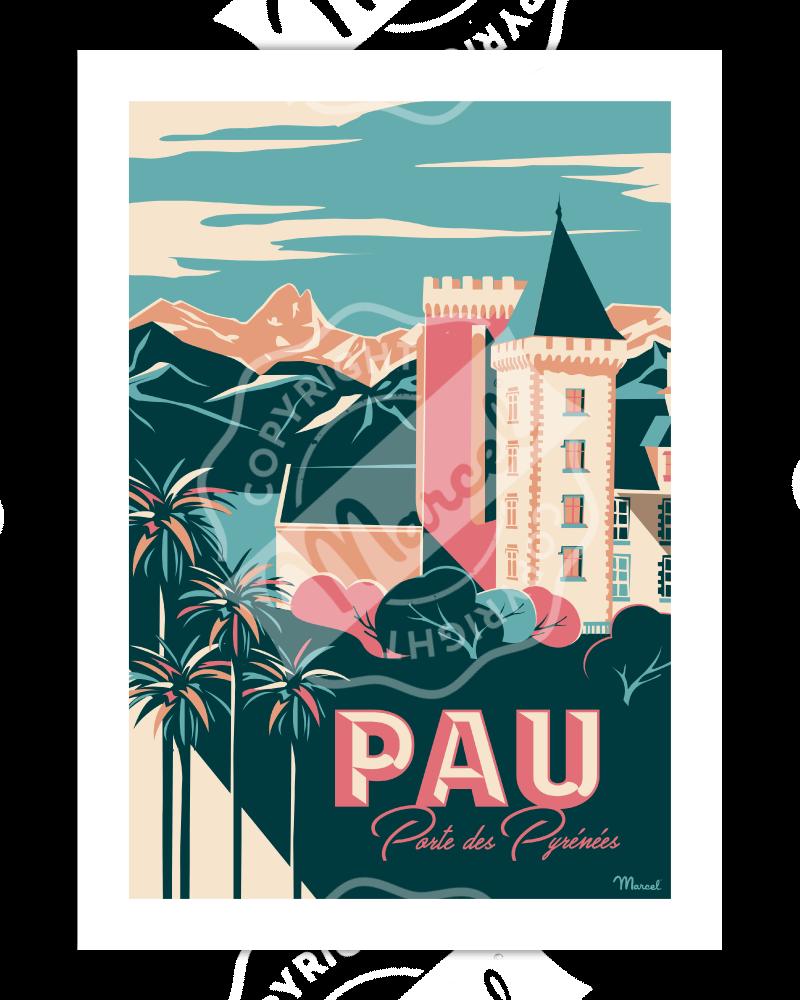 """Vintage Poster Pau """"Porte des Pyrénées"""" - Marcel Travel Poster"""