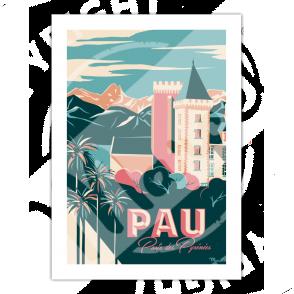"""Affiche vintage Pau """"Porte des Pyrénées"""" - Marcel Travel Poster"""