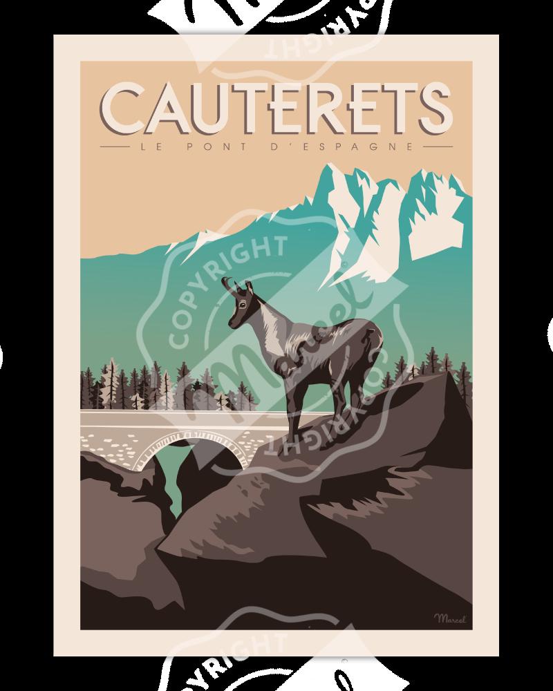 """Poster Cauterets """"Le Pont..."""