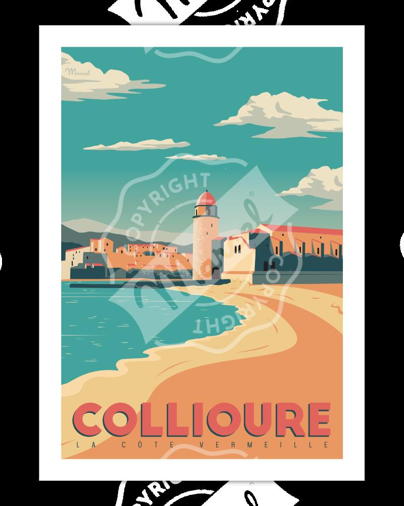"""Affiche vintage Collioure """"La Côte Vermeille"""" - Marcel Travel Poster"""
