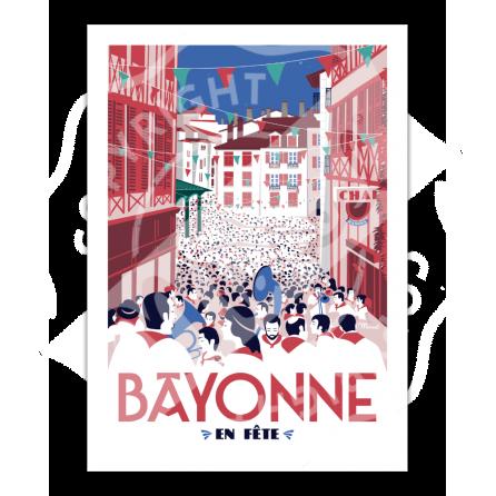 """Vintage Poster """"Bayonne en fête"""" - Marcel Travel Poster"""