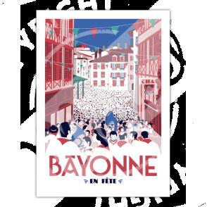 """Affiche vintage """"Bayonne en Fête"""" - Marcel Travel Poster"""