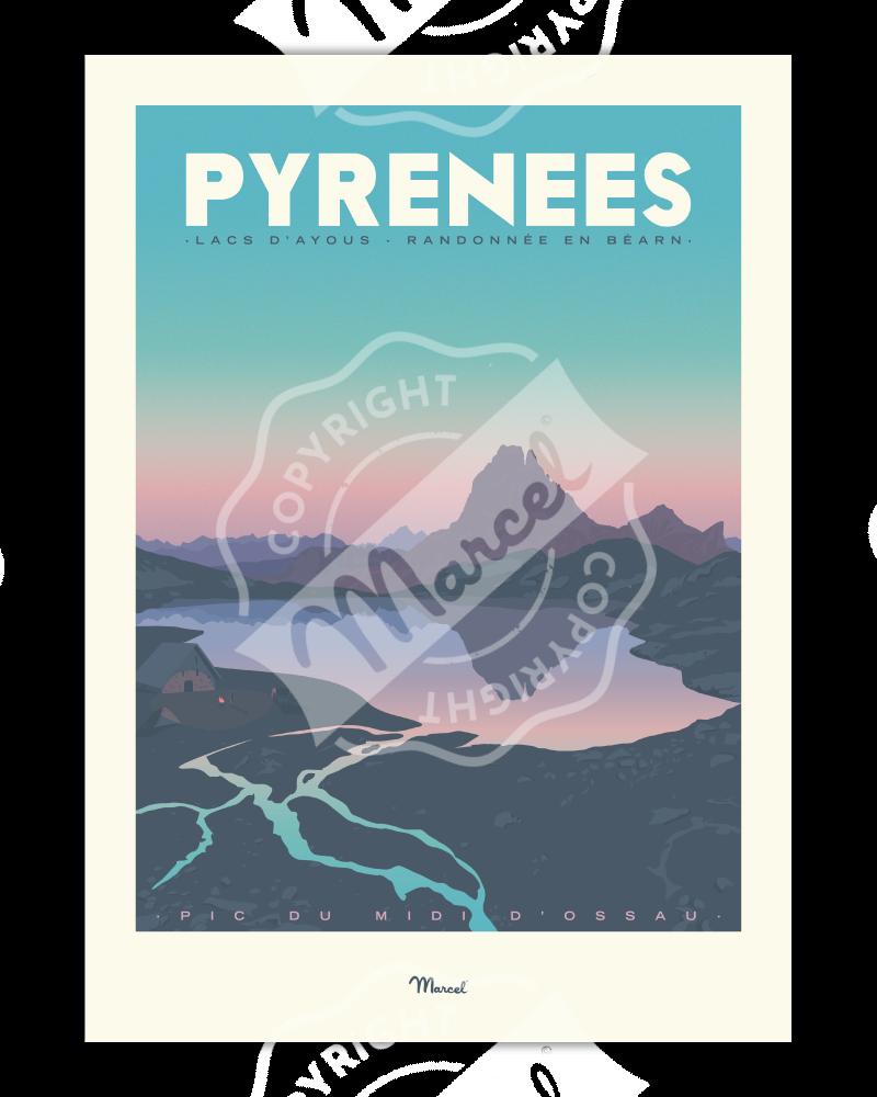 "Poster Pyrénées ""Lacs d'Ayous"""