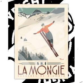 """Affiche LA MONGIE """"Tremplin à ski"""""""