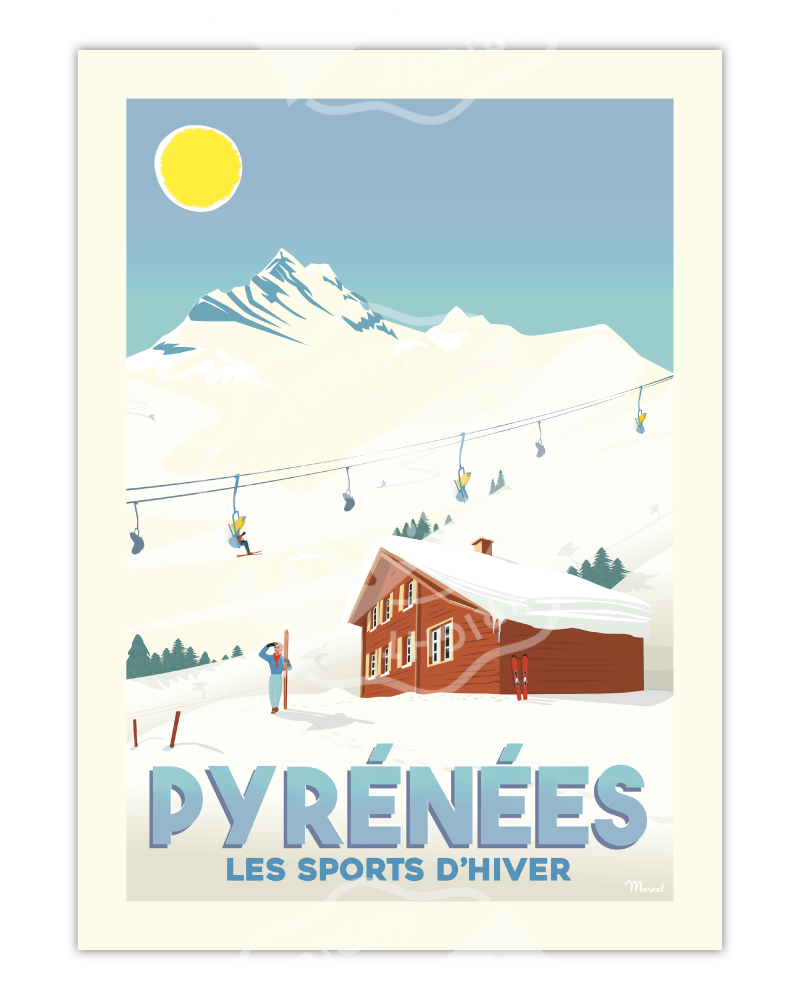 """Affiche PYRÉNÉES """"Les Sports d'Hiver"""""""