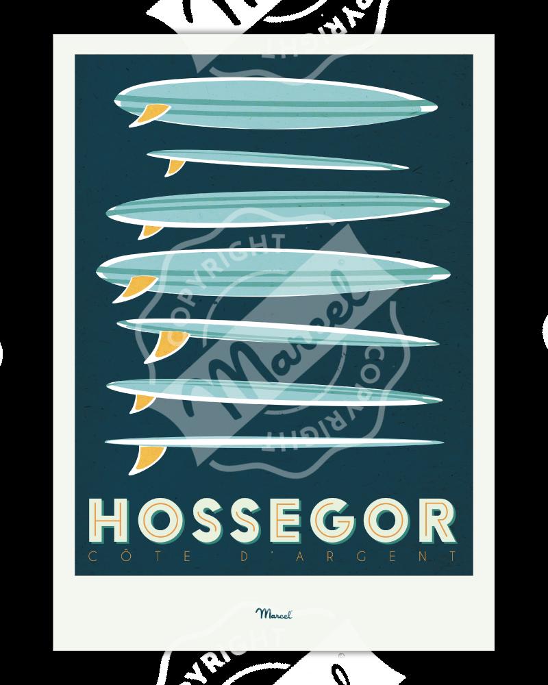 """Affiche Hossegor """"Surfboards"""""""
