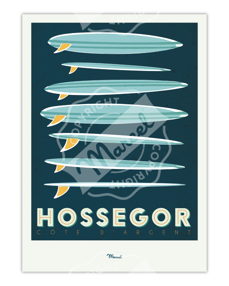 "Poster Hossegor ""Surfboards"""
