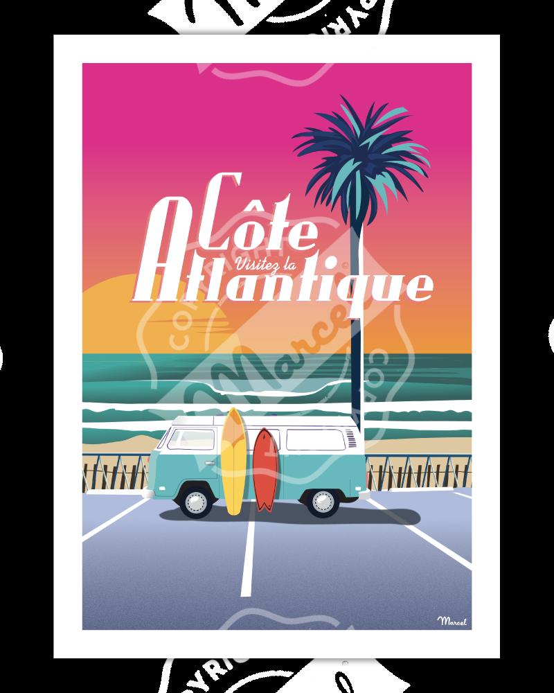 """Poster Côte Atlantique """"..."""