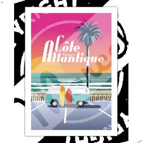 """Affiche Côte Atlantique """"Van Sunset"""""""