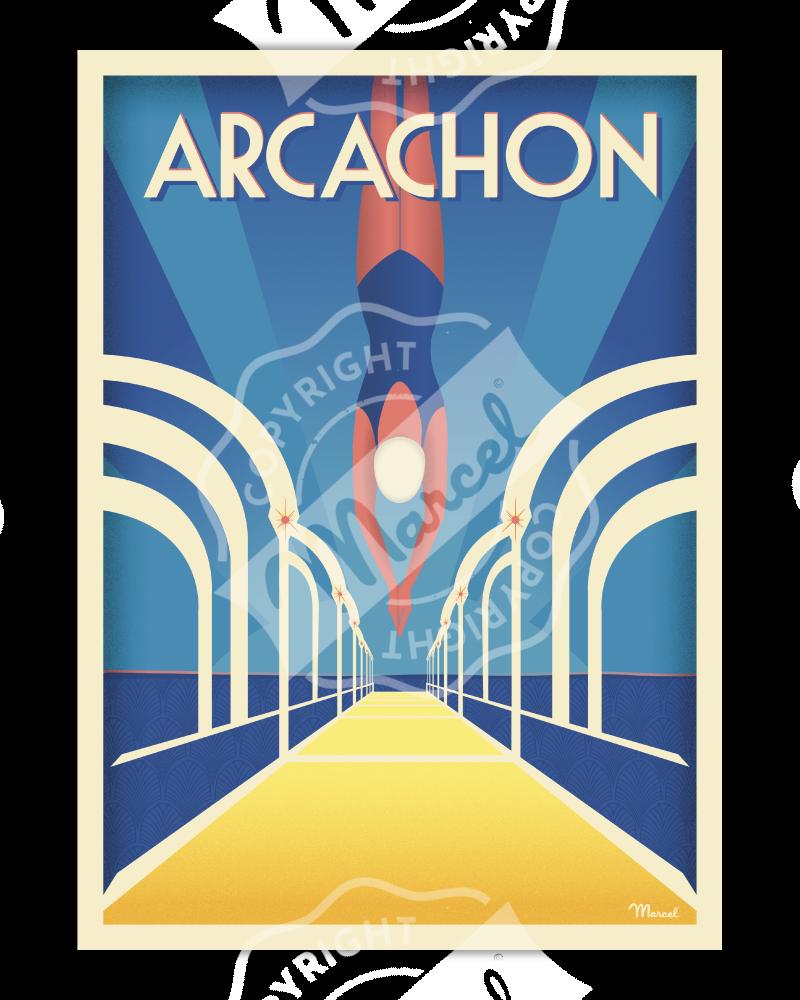 """Poster ARCACHON """"Jetée Thiers"""""""