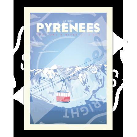 """Affiche PYRENEES """"Téléphérique"""""""