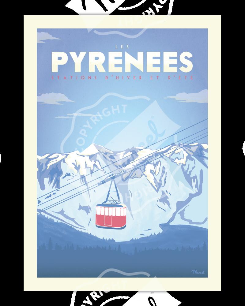 """Poster PYRENEES """"Téléphérique"""""""