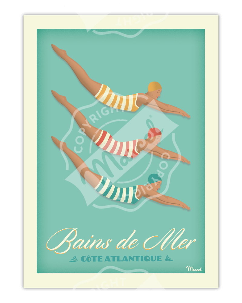 """Poster BAINS DE MER """" Côte..."""