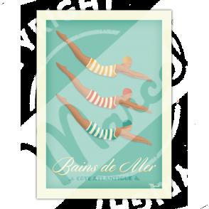 """Affiche BAINS DE MER """" Côte Atlantique"""""""