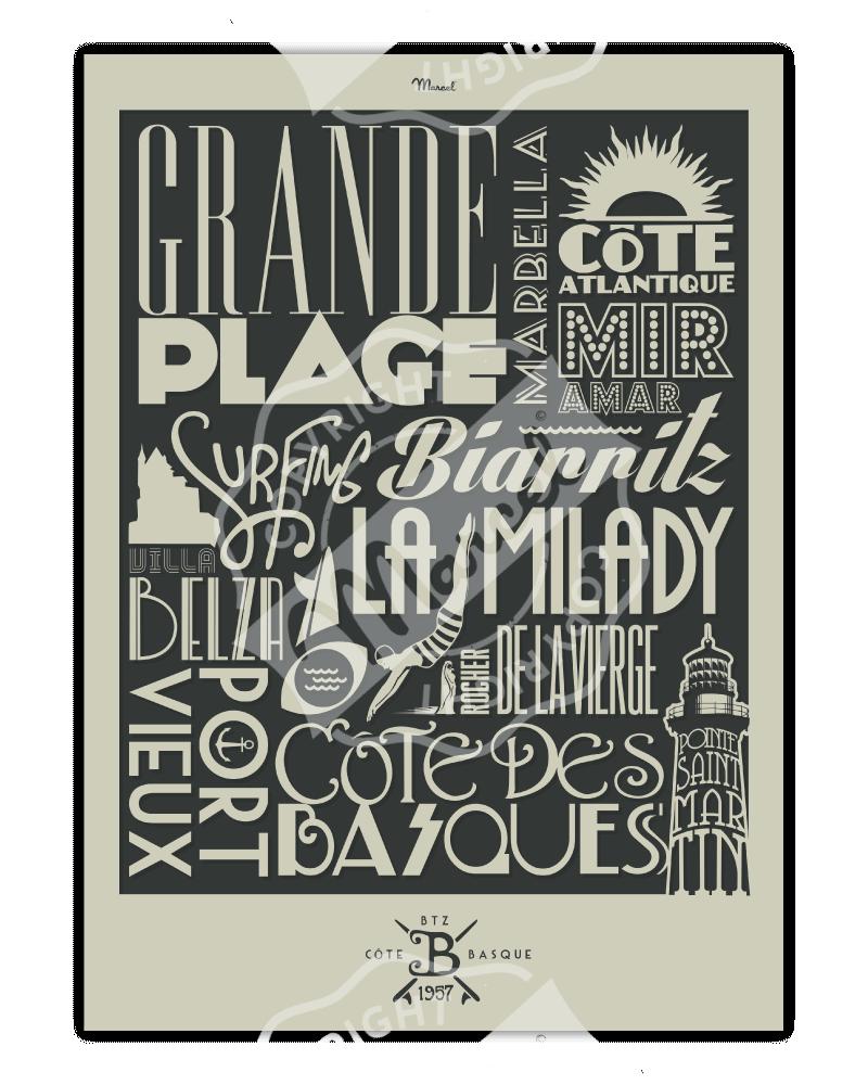 "Poster Biarritz ""Typography"""