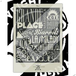 """Affiche Biarritz """"Typography"""""""