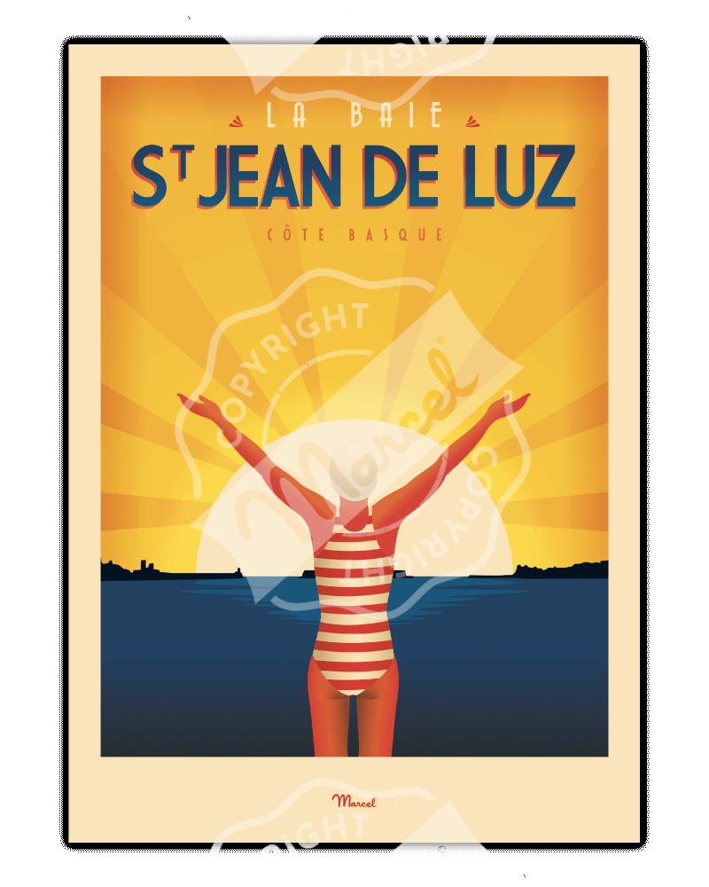 """Affiche ST JEAN DE LUZ """"La Baigneuse"""""""