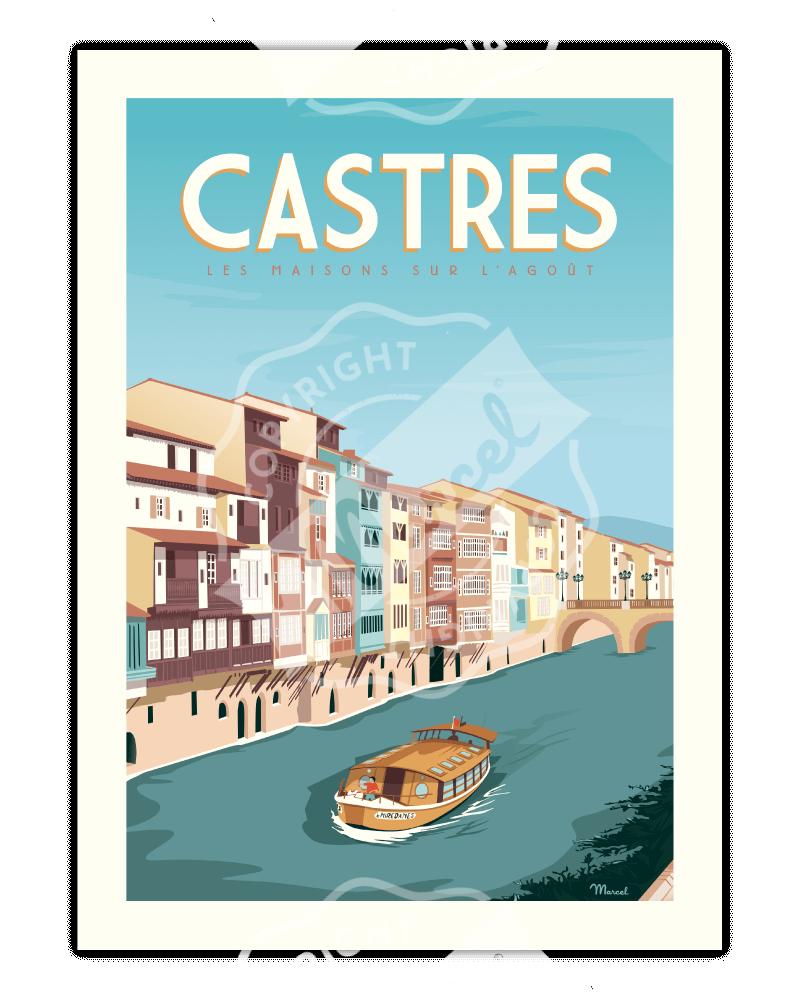"""Poster CASTRES """"Les Maisons..."""