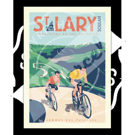 """Affiche St Lary  """"L'Ascension du Col de Portet"""""""