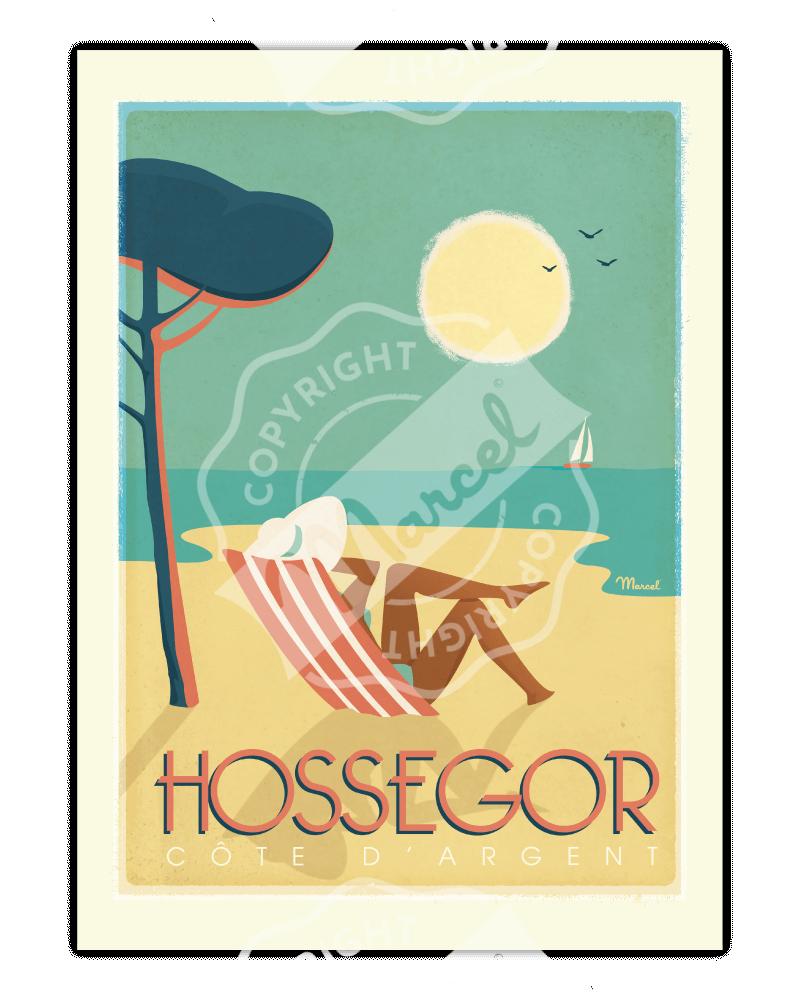 "Affiche HOSSEGOR ""Côte d'Argent """