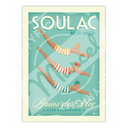 """Affiche SOULAC """"Bains de Mer"""""""
