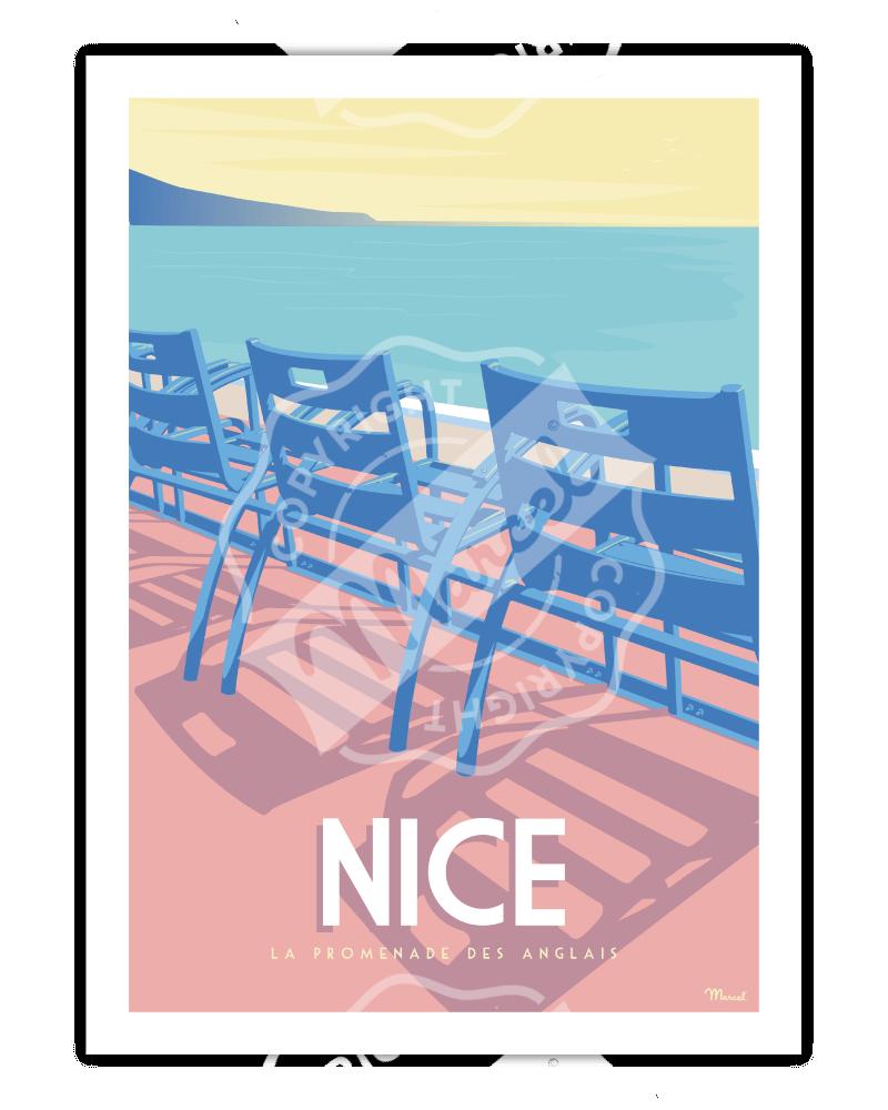 """Affiche NICE """"La Promenade des Anglais"""""""