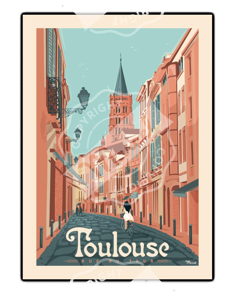 """Poster TOULOUSE """"Rue du Taur"""""""