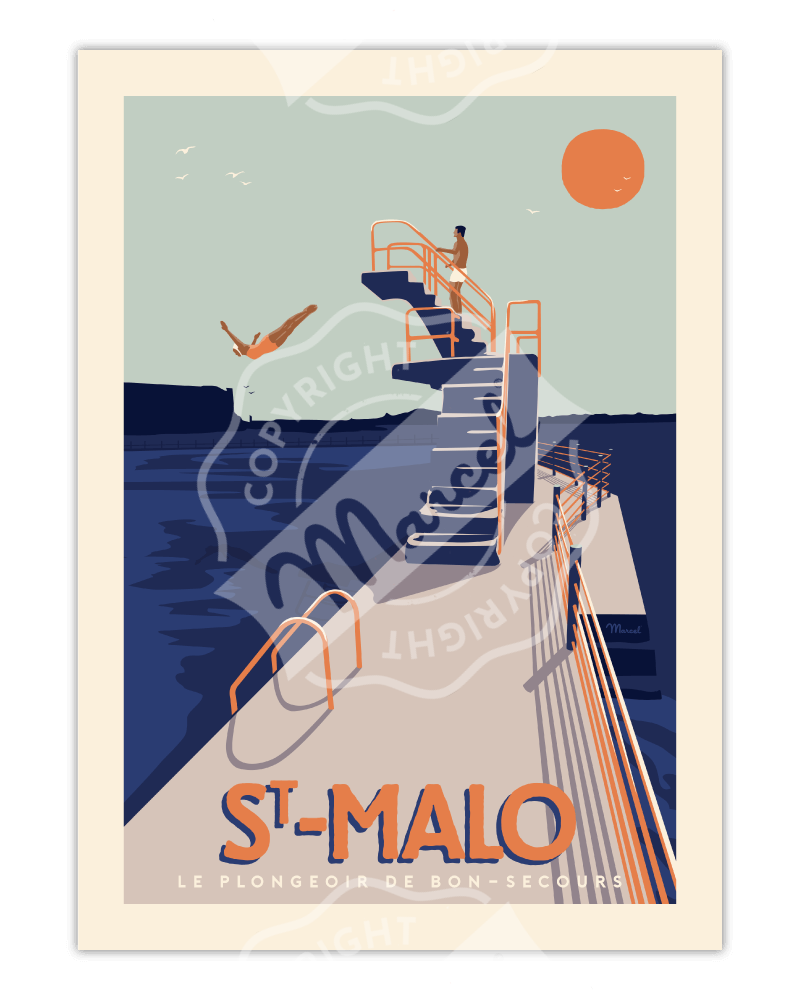 "Poster ST MALO ""Le Plongeoir"""