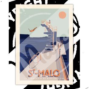 "Affiche ST MALO ""Le Plongeoir"""
