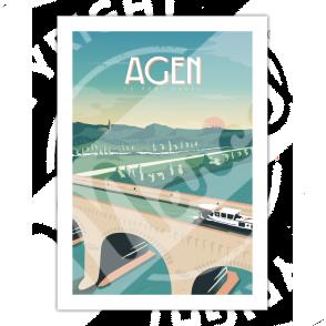 """Affiche AGEN """"Le Pont Canal"""""""