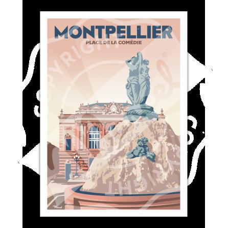 """AFFICHE MONTPELLIER """"Place de la Comédie"""""""