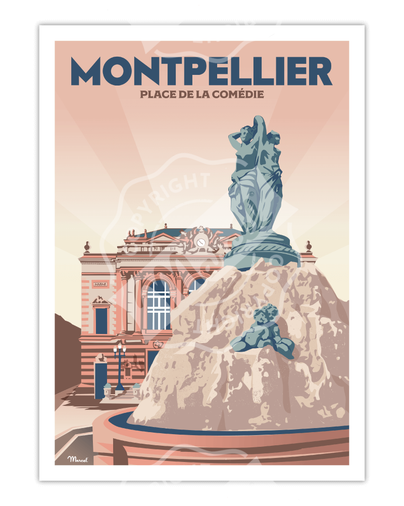 "Poster MONTPELLIER ""Place..."