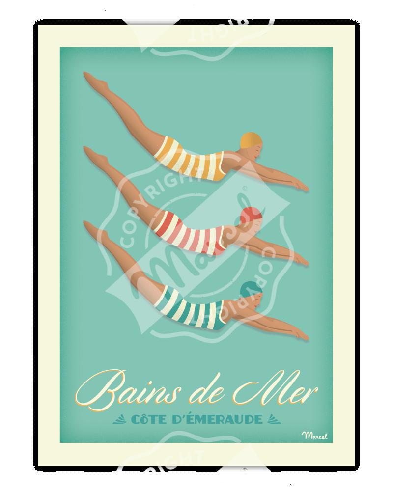 """Affiche BAINS DE MER """"Côte d'Emeraude"""""""