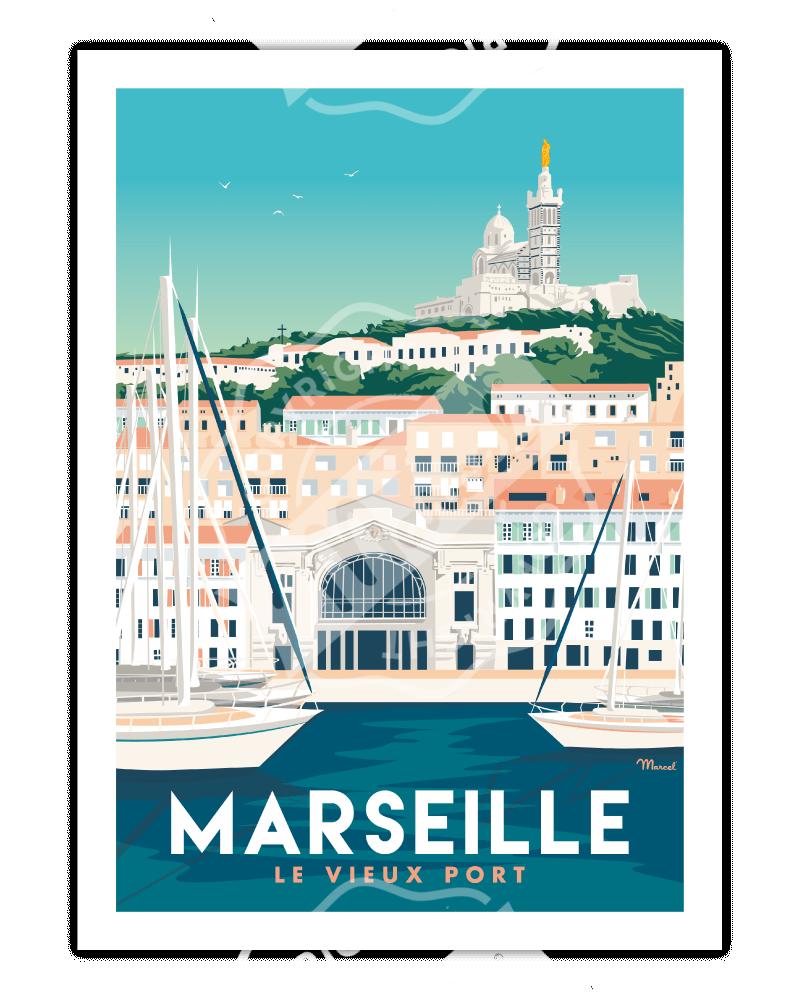 """Poster MARSEILLE """"Le Vieux..."""