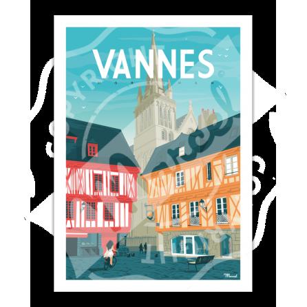 """Affiche VANNES """"Place Henri IV"""""""