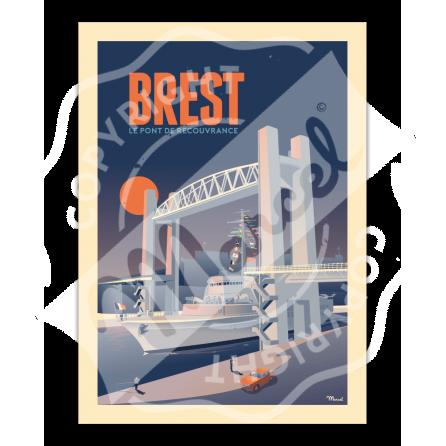 """Affiche BREST """"Le Pont de Recouvrance"""""""
