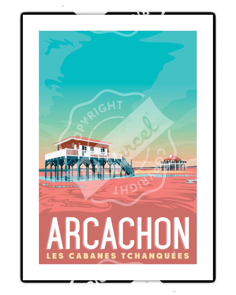 """Poster  Arcachon """"Les Cabanes"""""""