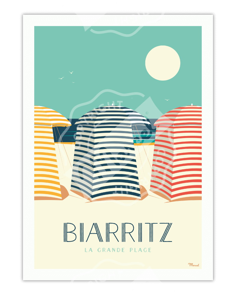 """Affiche Biarritz """"Les Tentes"""""""