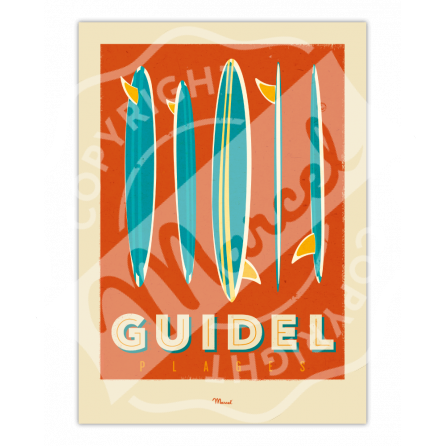 """Affiche GUIDEL """"Surfboards"""""""