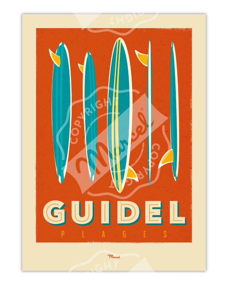 "Affiche GUIDEL ""Surfboards"""