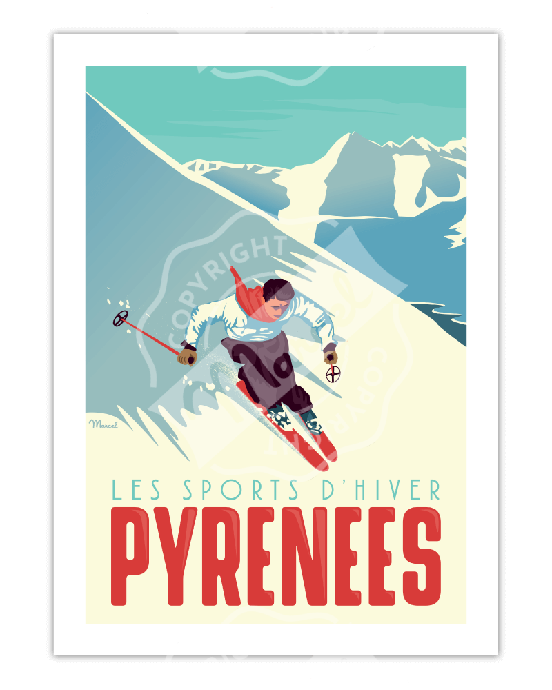"Poster  PYRENEES "" Le Skieur"""