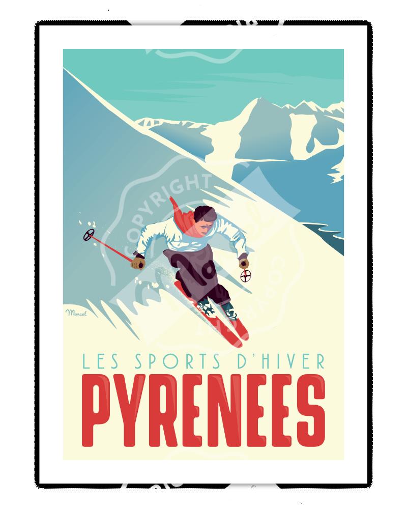 "Poster  PYRENEES "" Le Skieur"""