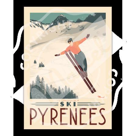 """Affiche PYRENEES """"Tremplin à ski"""""""
